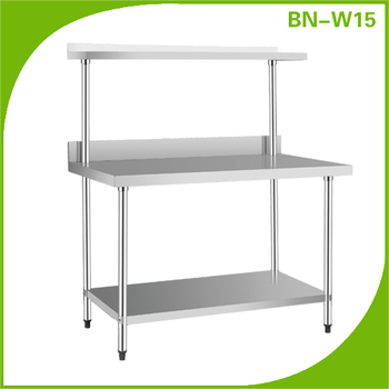Stainless Steel Kitchen Work Table With Under Shelf And Over Shelf