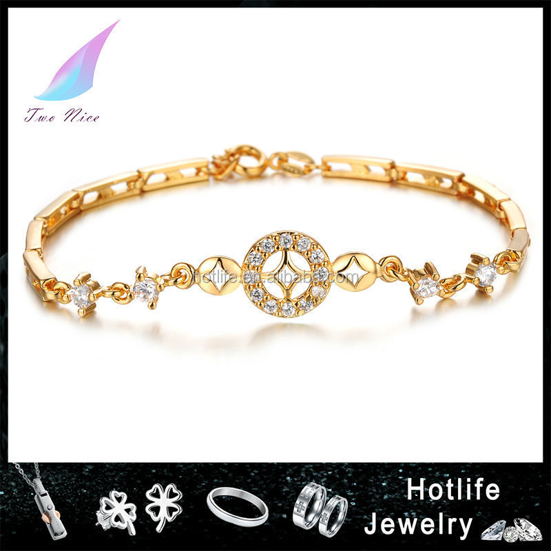gold plated jewelry cubic zirconia bracelet copper gold bracelet
