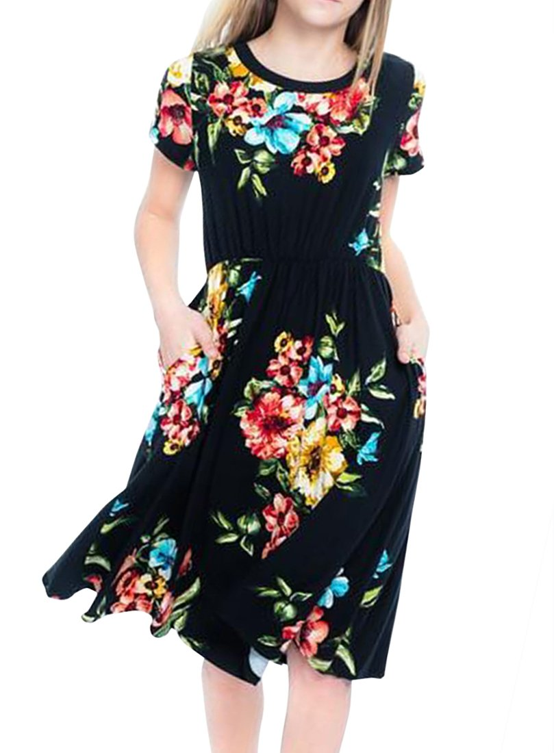 c2c326732b Get Quotations · LEANI Girl's Summer Floral Printed Short Sleeve Midi Maxi  Dress Loose Holiday Dress with Pockets