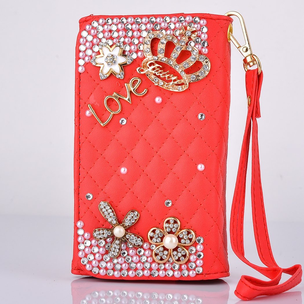 Rosepark(TM)Deluxe 3D Bling Handmade Love Crown Rhinestone Universal Phone Wristlet Clutch PU Leather Wallet Case Cover with Credit Card for Iphone 6 4.7, Samsung Galaxy S3 9300 S4 9500 HTC One(Red)
