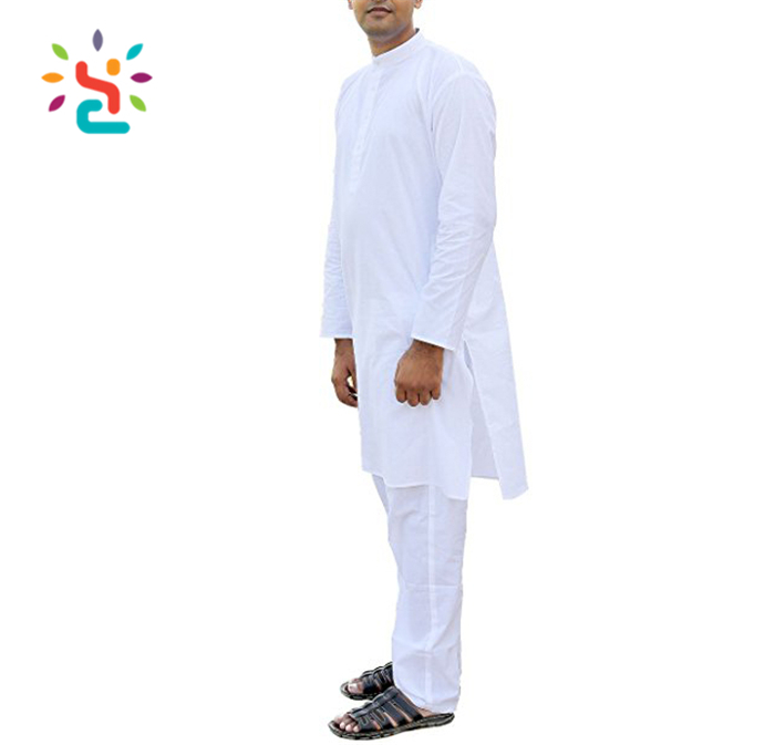 Indian white kurta designs for Men button Kurta Pajamas Set Traditional India Costume design Perfect for Casual Summer Dress