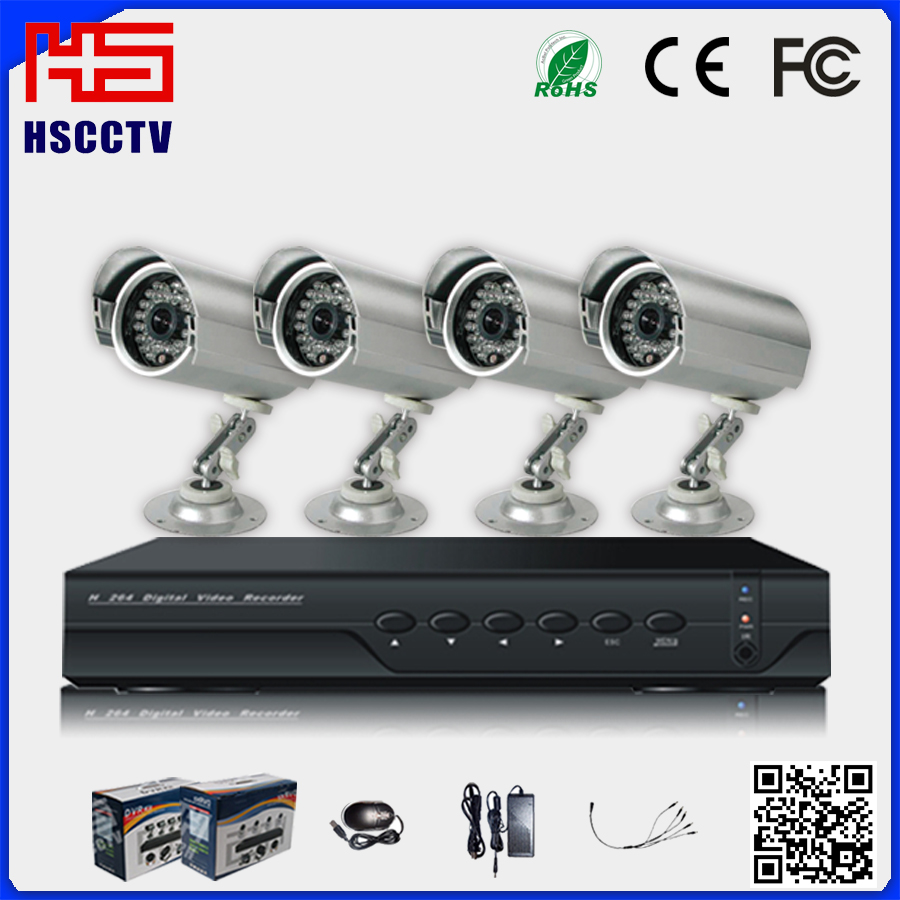 Support phone, IE P2P remote monitor, CMS monitor Economical 4CH System CCTV Kits