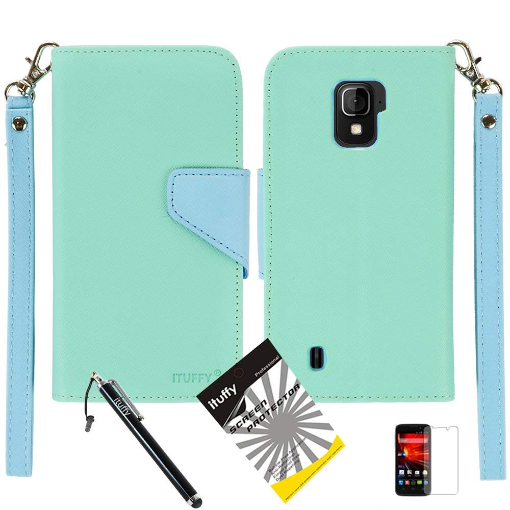 3 items Combo: ITUFFY (TM) LCD Screen Protector Film + Mini Stylus Pen + 2-Tone Leather Wallet & ID Card Case with lanyard for ZTE SOURCE N9511 / ZTE Majesty Z796c - (StraightTalk, Net10, Cricket) (Green / Blue)