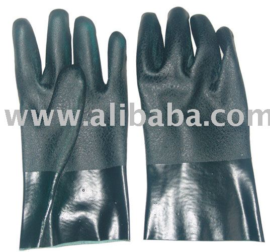 Green PVC Fully Coated Glove Safety Product