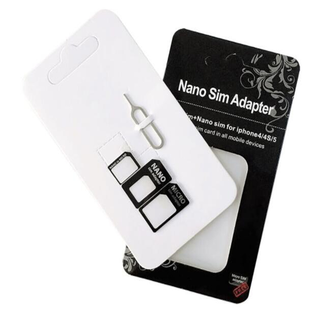 Hot sale Factory making retail packing sim card adapter with sim card pin for all phones