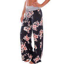 Women Casual Loose Boho Pants Floral Star Striped Print American Flag High Elastic Waist Long Trousers Wide Leg Pants