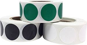 "Round Color Coding Craft Decoration Dot Stickers - Green Black and White - 1,500 Total 0.75"" Inch Round Adhesive Labels"