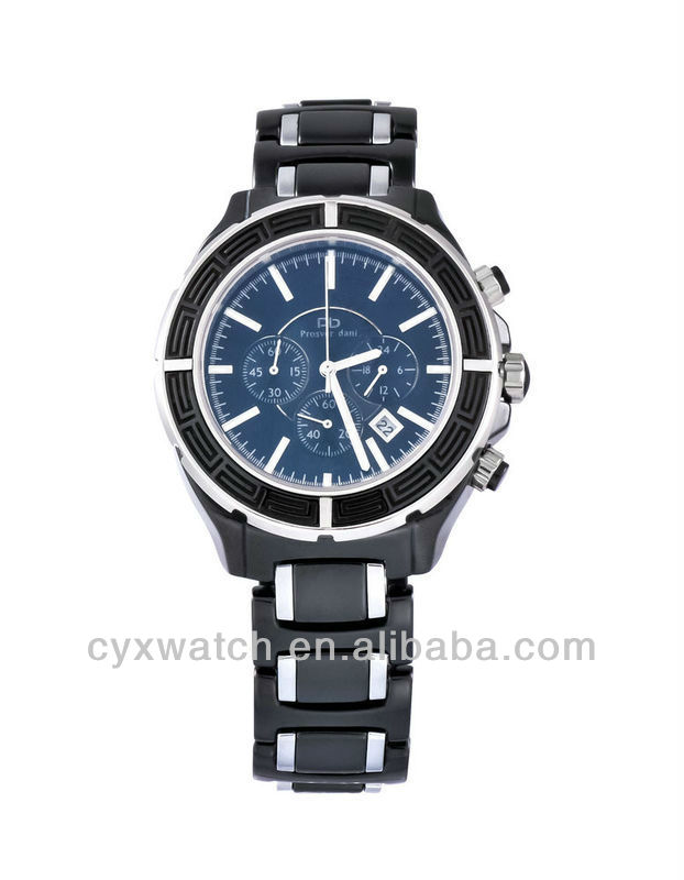 2013 fashion jewelry Prosver Dani Men's Black Ceramic Sport Watches With Chronograph