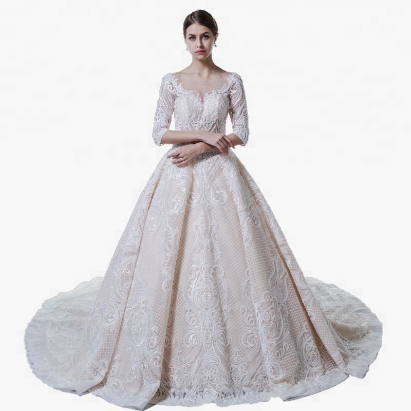 9f79fc8536 Luxury Wedding Dress Bridal Gown 2018 3/4 Sleeve Heavy Lace Bride Dresses. Hot  sale products