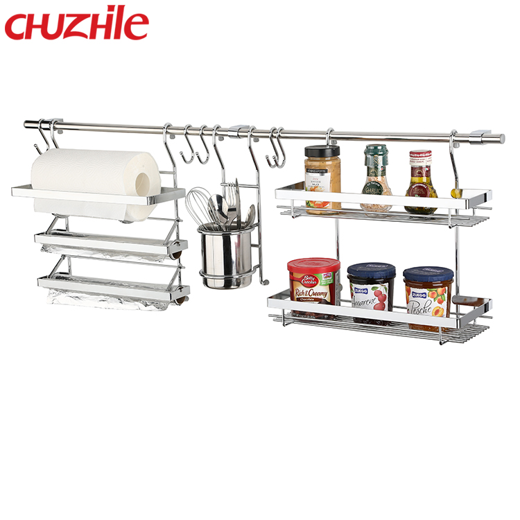 China supplier Metal Chrome Plated hanging kitchen holder rack