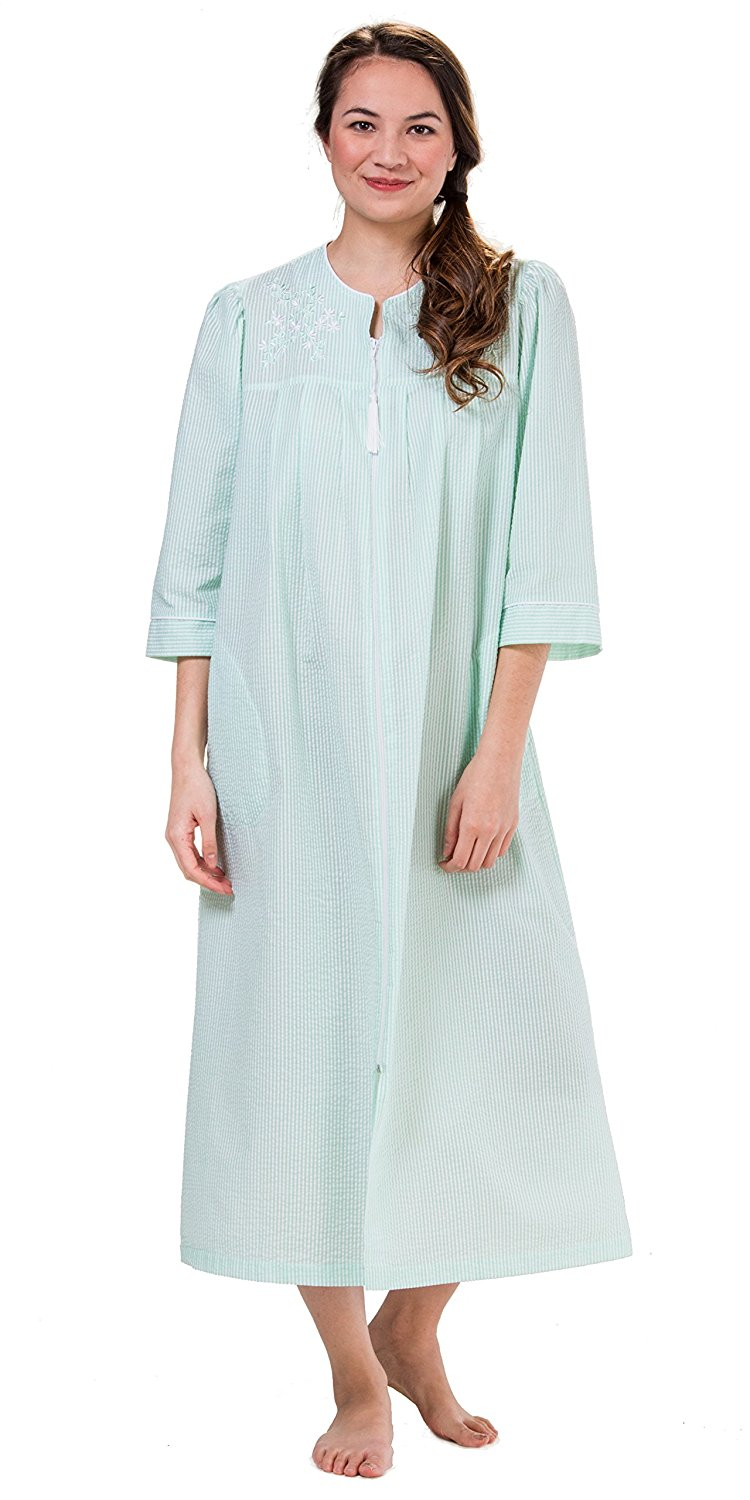 b7ca3985bc Get Quotations · Miss Elaine Plus Seersucker Robes Long Embroidered Zip In  Spearmint Stripe