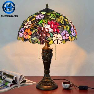 New design dragonfly antique tiffany table lamp base with stained glass lamp shade