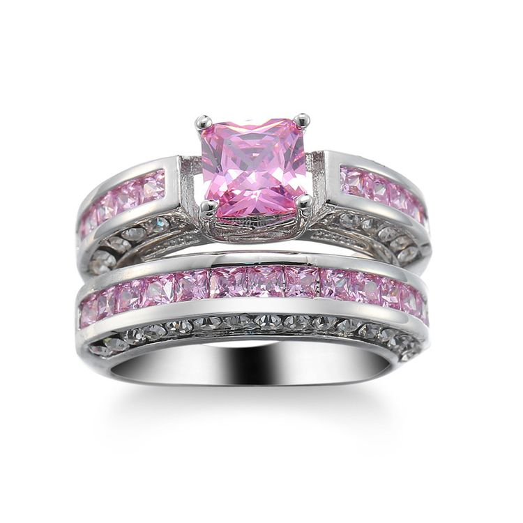 Pink Stone White Gold Plated Wedding Rings For Women Engagement Rings Jewelry Accessories
