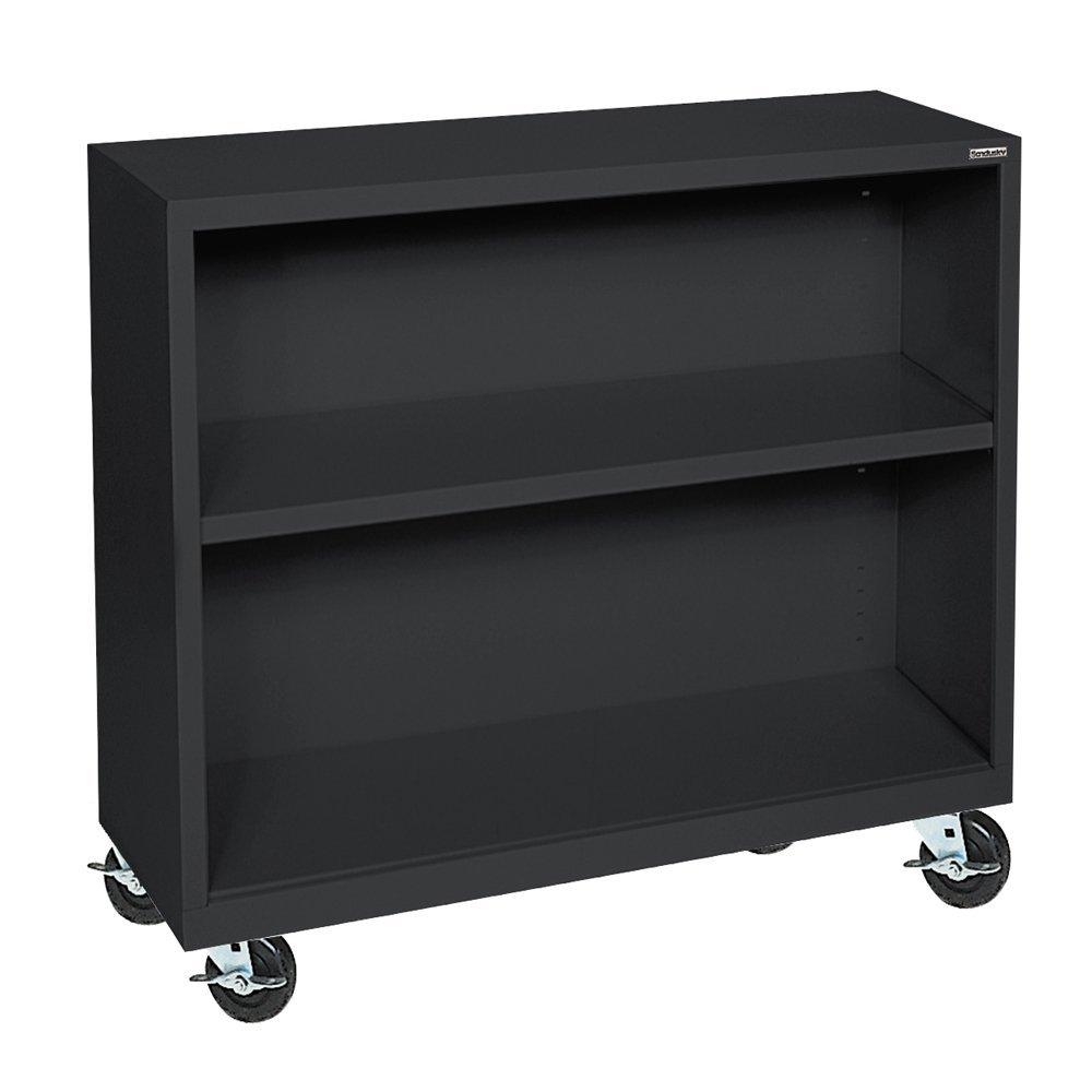 "Sandusky Lee BM10361830-09 Black Steel Mobile Bookcase, 1 Adjustable Shelf, 200 lb. Per Shelf Capacity, 36"" Height x 36"" Width x 18"" Depth"