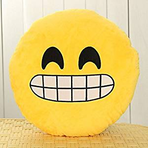 12.8 Inch Car Home Office Accessory Emoji Smiley Emoticon Round Cushion Pillow Stuffed Plush Soft Toy Yellow (Mr Bean smile) Color: Mr Bean smile Model: