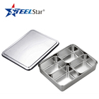 Indian hot sales stainless steel 1/2/3/4/6/8 compartments seasoning spice box with cover lid