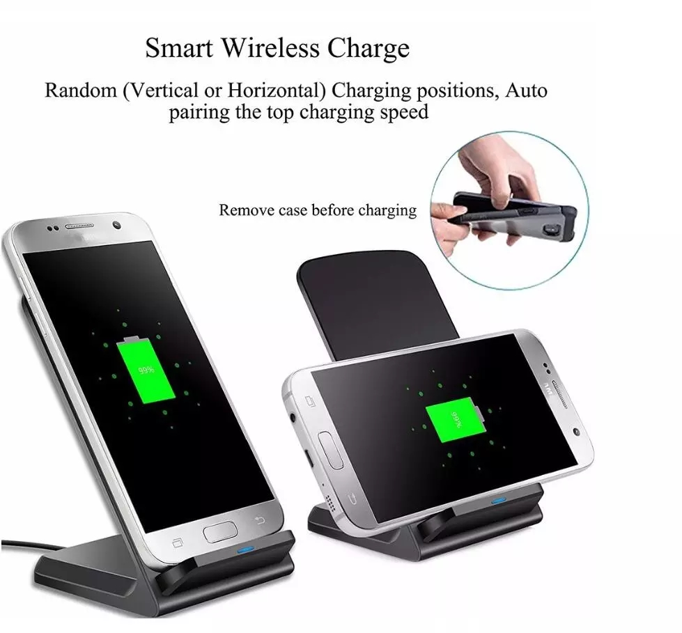 Black QI Wireless fast phone Charger stand ,Standing Mobile Phones charge Wireless Charger
