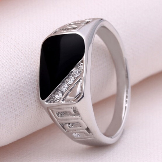 Size 7 12 2015 Fashion Men Silver Plated Fine Jewelry Punk Titanium Steel Gem Ring Retro