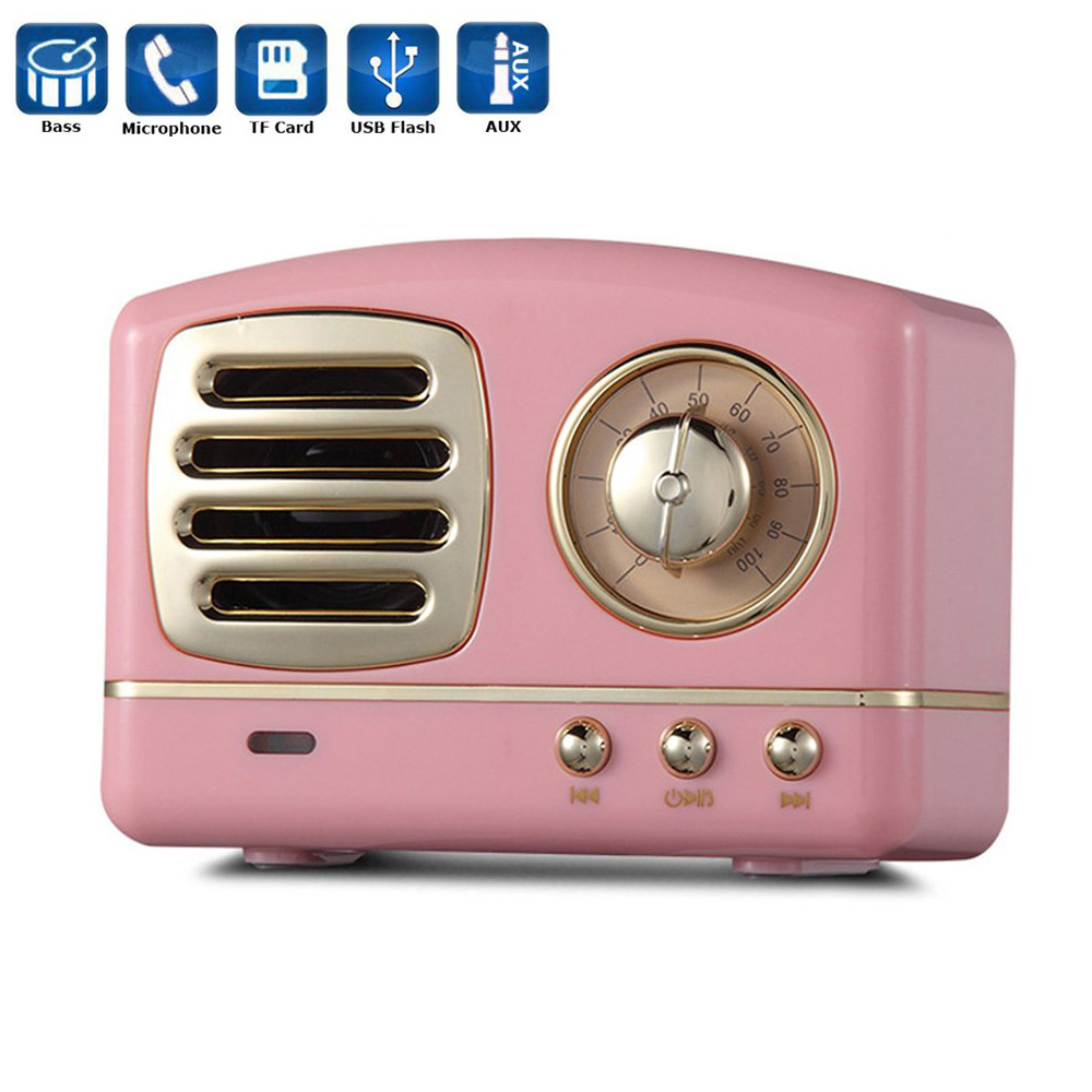Portable Retro Stereo Enhanced Bass Vintage Wireless Speaker with TF Card Slot for Travel Home Beach Outdoors