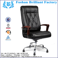 Executive Tall Back Solid Wood Frame and Armrest with Recline Function Office Chair Sew in Crystal Button BF-8915