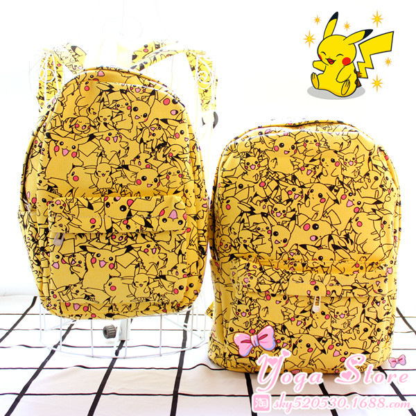 Wholesale 2016 hotsale pokemon Pikachu Figure Custom Canvas Backpack