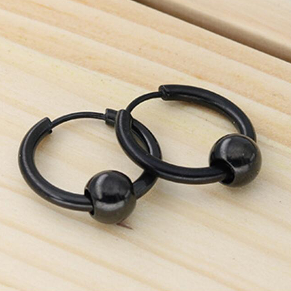 Round stainless steel ear earrings titanium steel man earrings women accessories