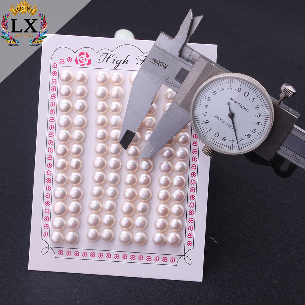 high quality AAA button shape loose freshwater pearl bead natural white pearl jewelry with hole