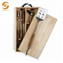 Deluxe Rose Hout BBQ Tool Set BBQ Grill Gereedschap Set <span class=keywords><strong>Barbecue</strong></span> Accessoire <span class=keywords><strong>Barbecue</strong></span> <span class=keywords><strong>Kit</strong></span> Met Houten doos