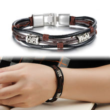Free Shipping Fashion Men Male Punk Jewelry Rope Chain Genuine Leather Bracelets Charm Bangle High Quality Wholesale Gifts OB855