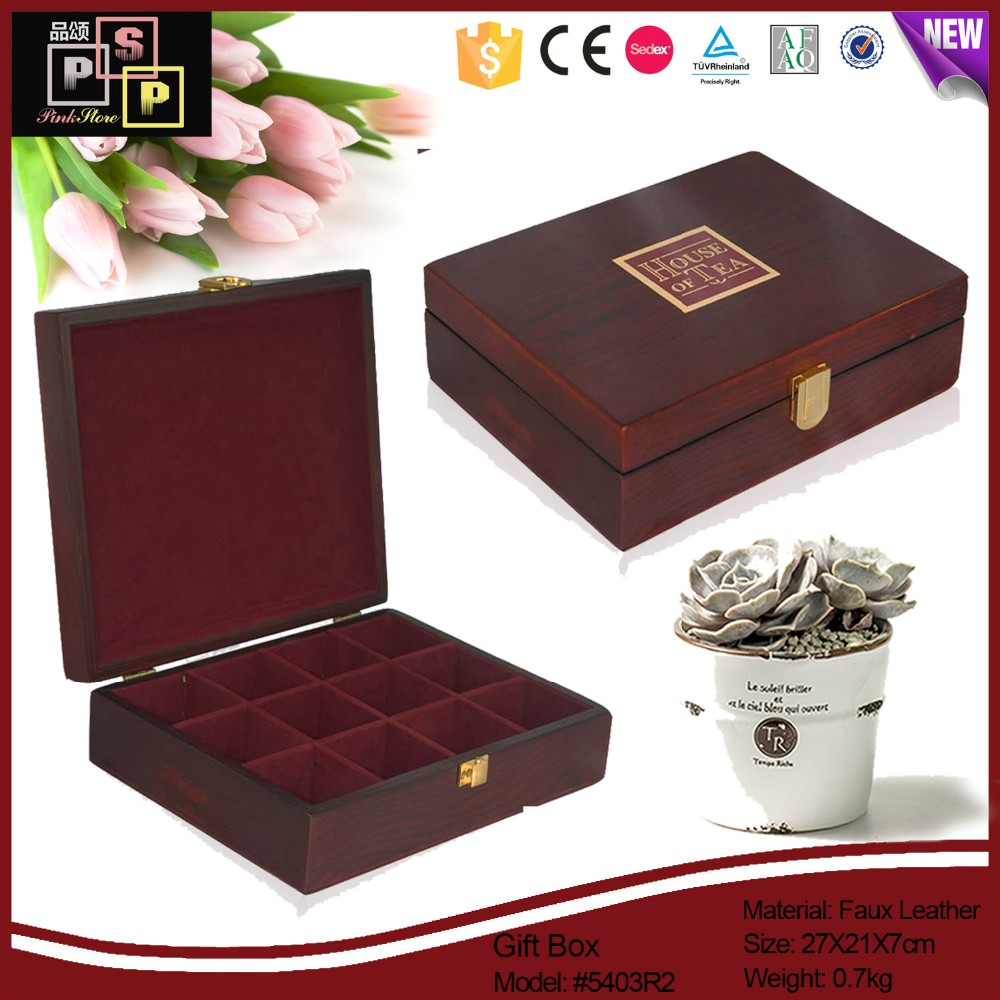 High quality custom logo wooden gift box for tea