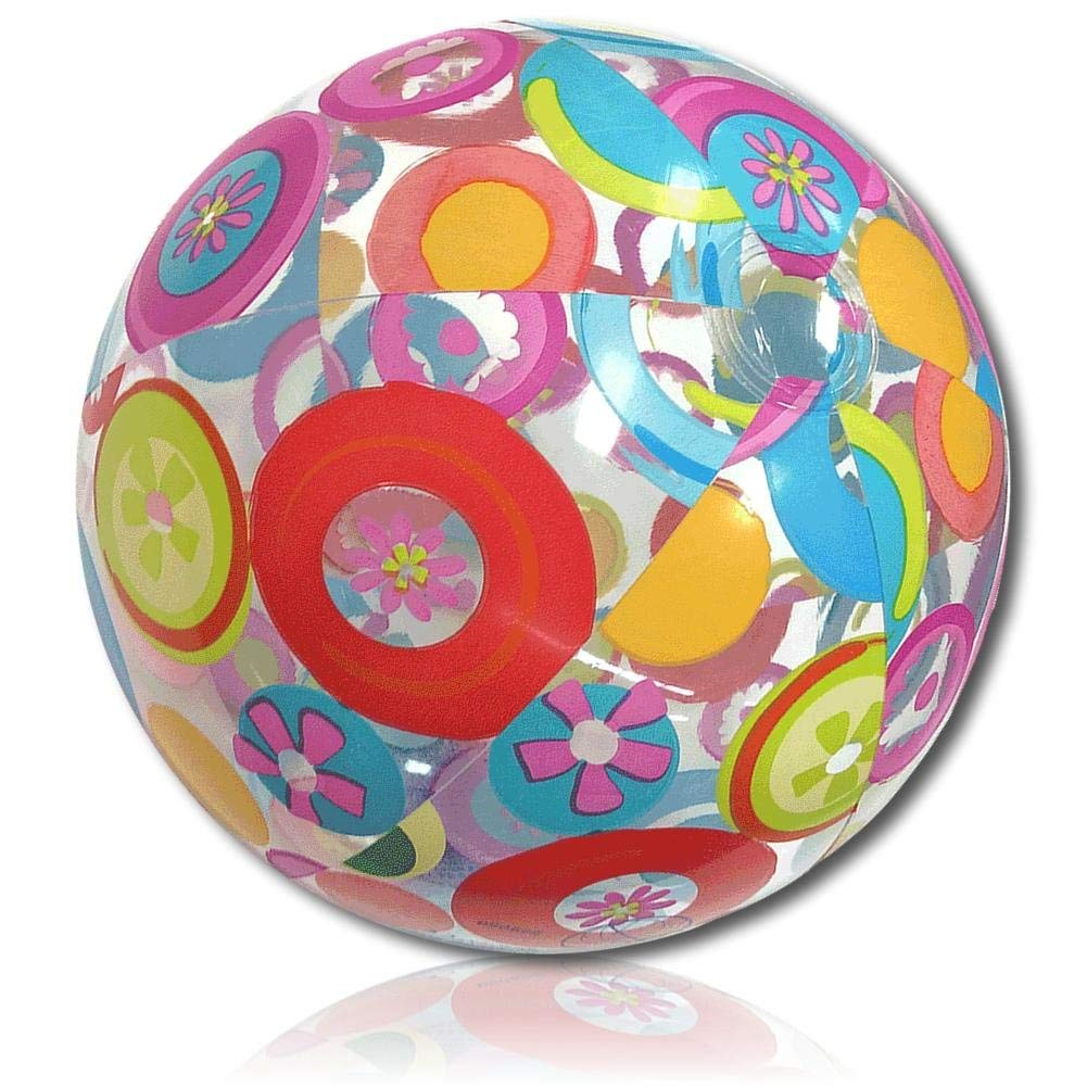 "ULTRA Durable & Custom {18"" Inch} One Single Mid-Size Inflatable Beach Ball for Summer Fun, Made of Lightweight FLEX-Resin Plastic w/ Fruity Citrus Fun Circles & Tropical Flowers Style {Multicolor}"