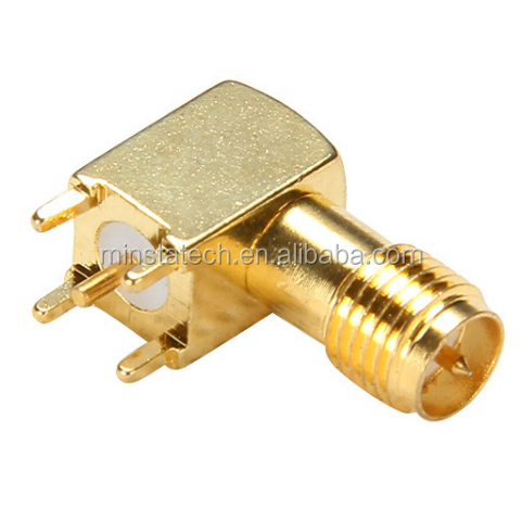 RP SMA Female Right Angle Square PCB Mount Connector