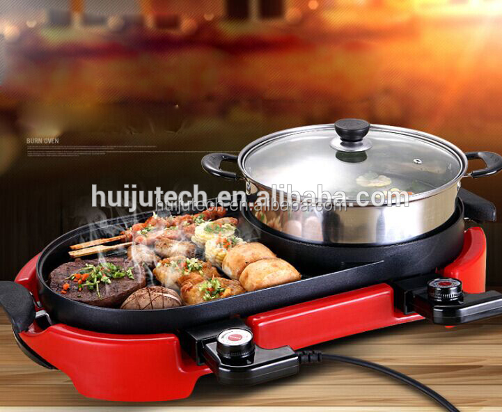 Fast food machinery of electric bbq grill with hot pot HJ-BBQ002
