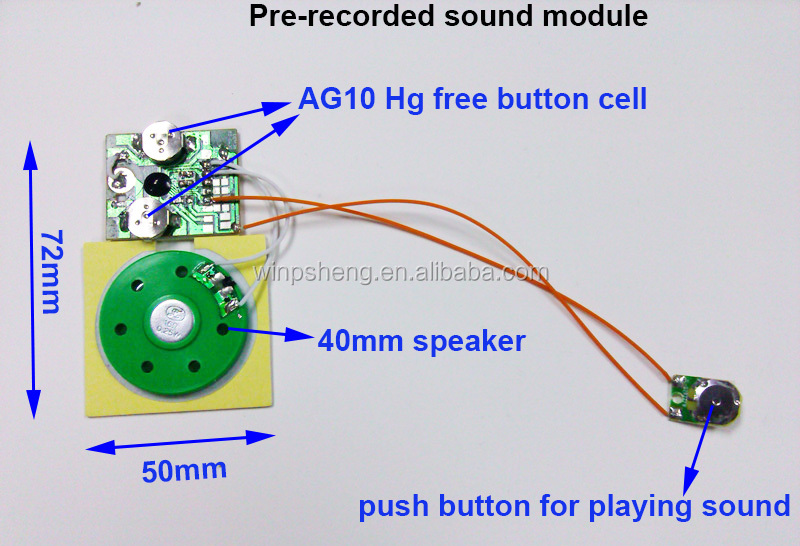 recordable/pre recorded/recorder Sound Module for Greeting Card