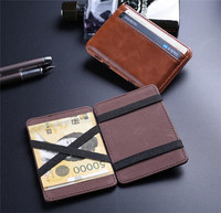 Customized Elastic Ribbon Magic Strap Leather Credit Card Holders men wallet gift set men e-wallet card