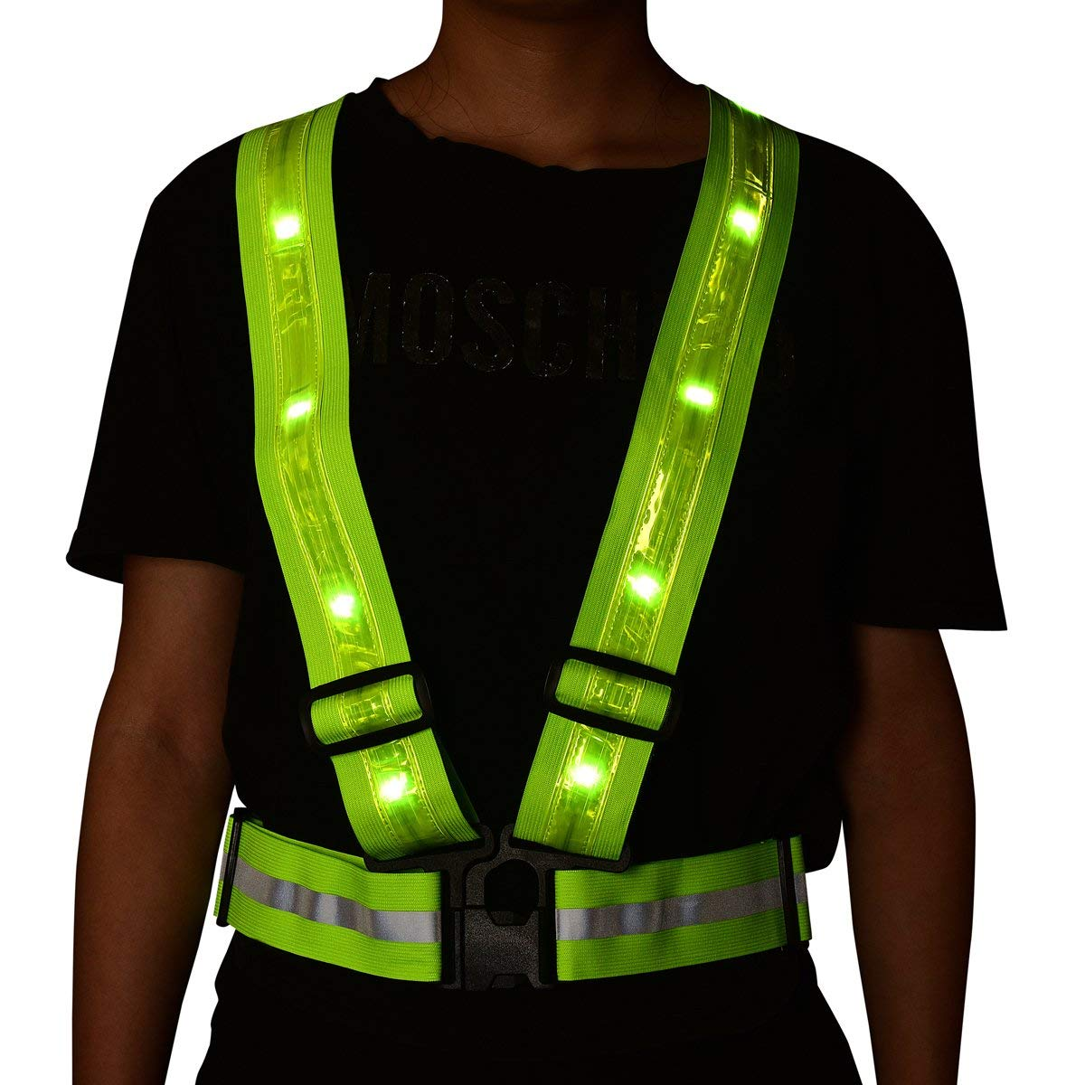 Led Glowing Suspenders Reflective Running Gear ShineU LED Reflective Safety Vest USB Charging Elastic Straps Adjustable Size Fit Women Men Kids Flashlight Warning for Outdoor Sport Running Cycling