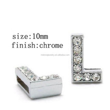 "2015 Rhinestone Letter "" L"" Slide Charms Fit 10mm Wristbands & Bracelets Alphabet Beads"