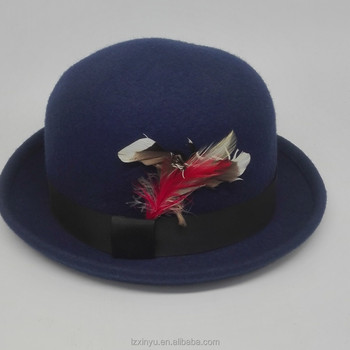 7d64cec0482 Blue Round Top Fedora Trilby Hat With Feather Decoration - Buy Men ...