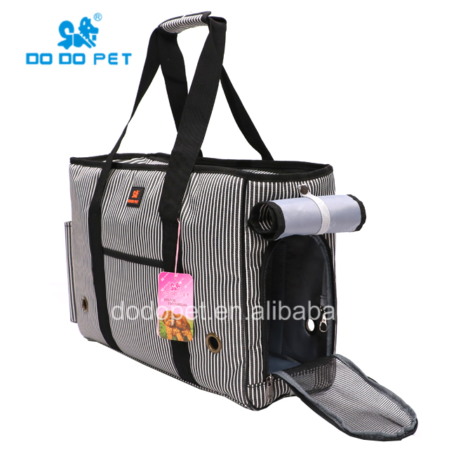 Solid color classic striped dog traveling bag soft cat carrying bag pet carrier