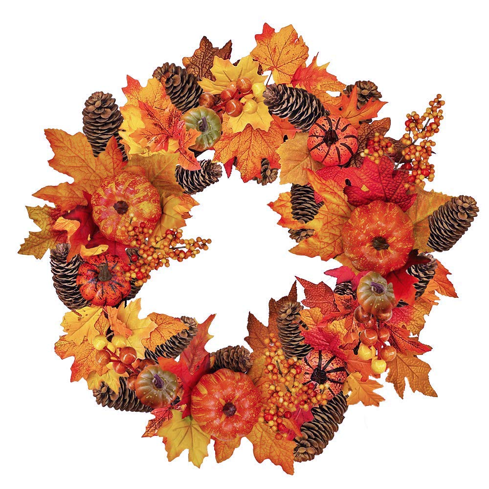 "Winlyn 1 Pcs Harvest Fall Front Door Autumn Wreath 20"" Pumpkin Acorns Gourd Berries Maple Leaves Grapevine UV Protected Thanksgiving Wreath for Party Wedding Halloween Festival Decor"