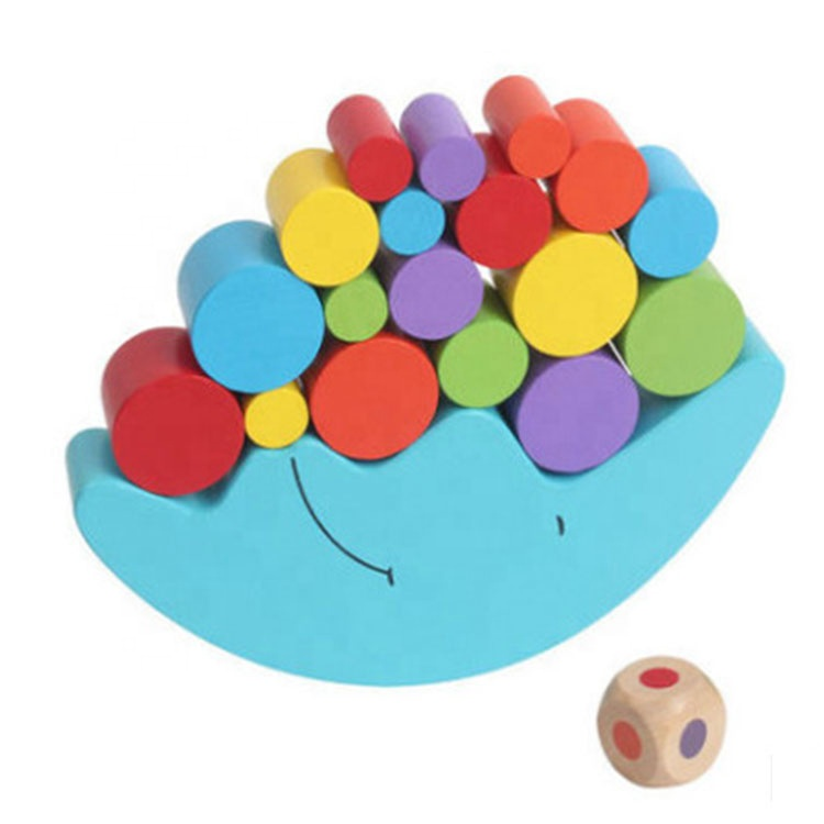 Children Early Educational Kids Blue Wooden Moon Balance Toy Stacking Blocks Boat Game