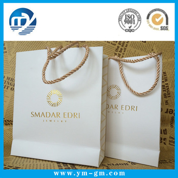 Custom printing small white shopping paper bag with gold logo 19a969aad865d