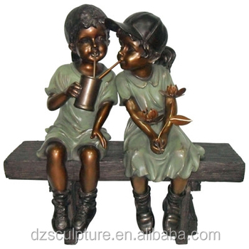 Beau Bronze Garden Statue Boy And Girl Sitting On Bench Drinking And Make Funny