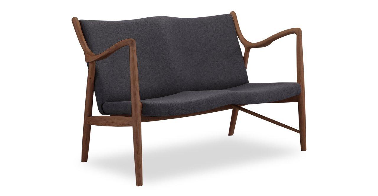 Kardiel Copenhagen 45 Mid-Century Modern Loveseat/2 Seat Sofa, Urban Ink Twill/Walnut