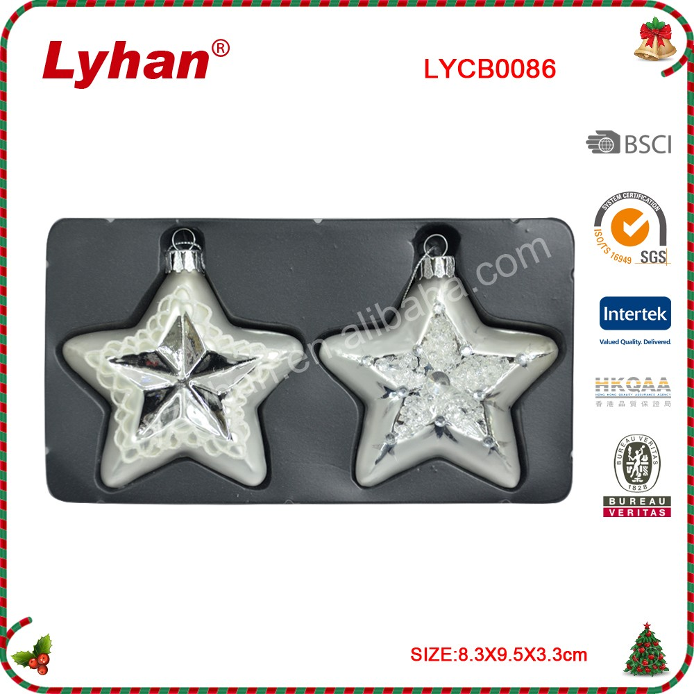 glass star for Christmas tree decoration 2017 new design