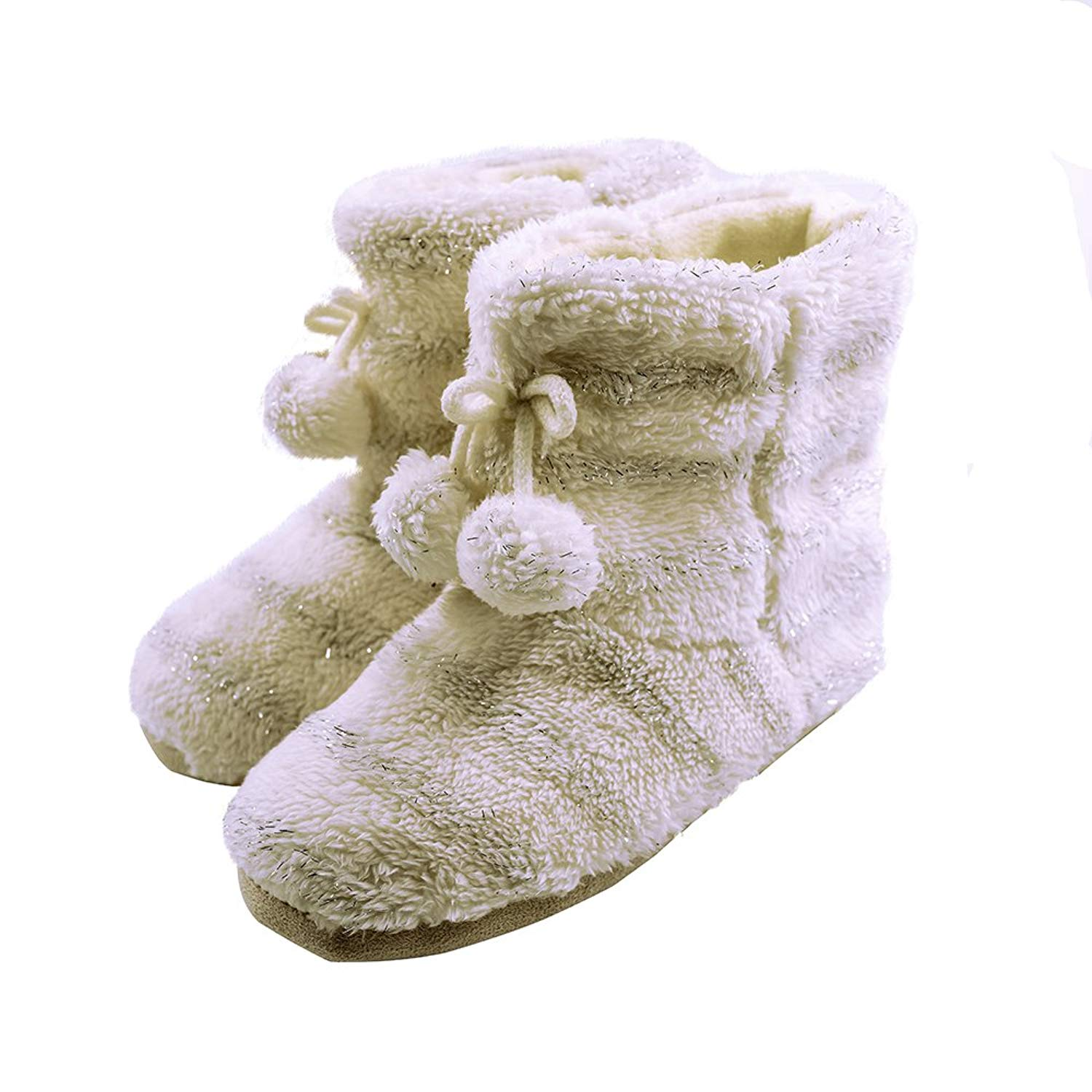 e4247d21f3d Get Quotations · Womens Fluffy Plush Slipper Boots Memory Foam Warm Cozy  Faux Fur Indoor House Booties Pom Pom