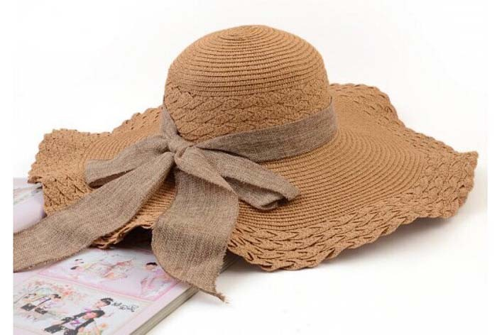 3c45bd39468 Straw hat sun-shading summer wide brim beach caps with bowknot  floppyfoldable for ladies