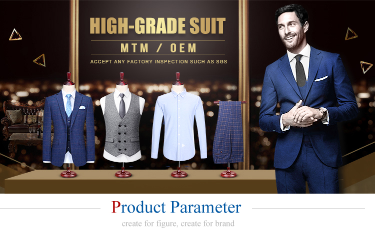 2018 amazon hot sale three piece groom wedding latest design blue coat pant men suit made in china
