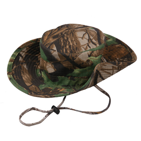 Outdoor Hunting Fishing Bucket Bionic Camouflage Hat Boonie Cap Tactical Military Caps Suitable Head Less 59cm Free Shipping