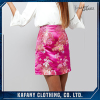 2017 Summer New Design Petite Pink All Over Floral Print Jacquard Mini Skirt
